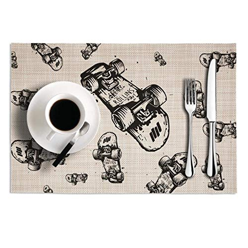Octayi Placemats Set of 2 Heat Insulation Stain Resistant Placemat for Dining Table Skateboards Drawing Crossweave Woven Vinyl Washable Table Mats