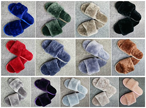 qmfur Light Fashion Fur Comfort Slipper Home Women's Slippers Wool Blue Slides rrdzBwq