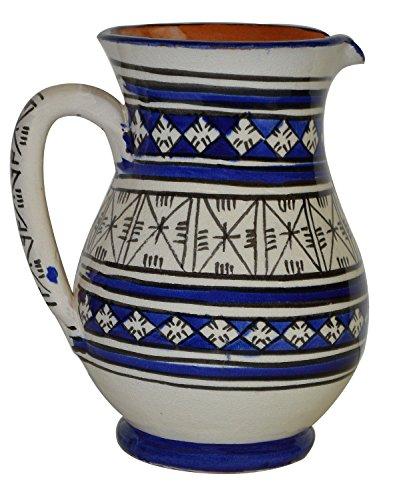 Moroccan Pitchers Sangria Handmade Ceramic Carafe Beverage Dispenser Jar Cooler Easy Pour 58 oz
