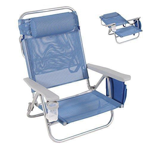 Strandstuhl mit mehrfach verstellbarer Rückenlehne, Kopfpolster und Becherhalter