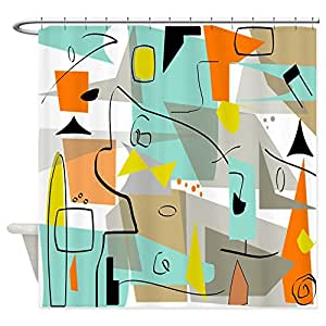 CafePress - Mid-Century Modern Abstract Shower Curtain - Decorative Fabric Shower Curtain