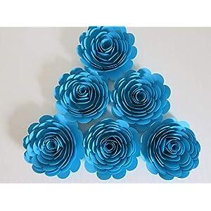 6 Piece Set Aqua Blue Paper Roses, 3 Inch Blooms, Light Teal Wedding Flowers, Bridal Shower Decor, Baby Nursery, Event Planning Floral Decorations 70