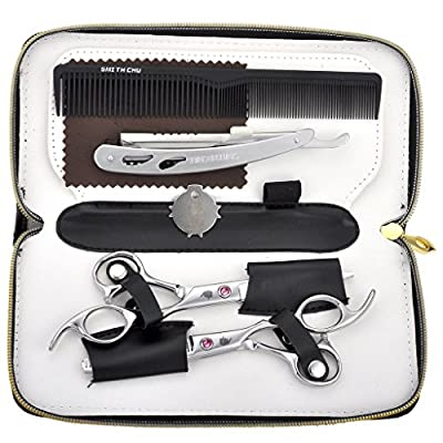 CCbeauty 1Set Professional Barber Hair Cutting Scissors Shears Thinning Kit with a Black Shear Case