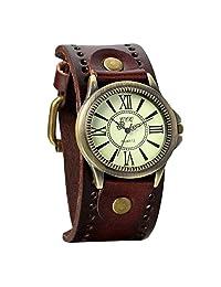 Avaner Unisex Punk Retro Bronze Round Dial Wide Brown Leather Belt Cuff Bracelet Analog Quartz Watches