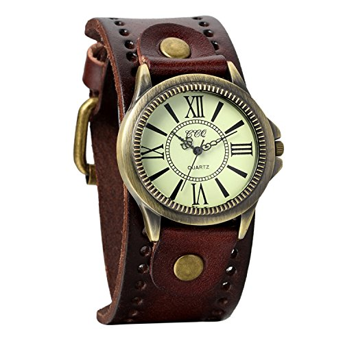 Dial Brown Leather Cuff (Avaner Unisex Punk Retro Bronze Round Dial Brown Wide Leather Belt Strap Cuff Bracelet Roman Numerals Analog Quartz Wrist Watches)