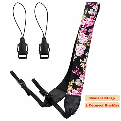 Camera Strap,Eggsnow Universal Camera Neck Shoulder Strap for Mirrorless,Polaroid,Digital SLR Camera-Pink Flower (Digital Strap Neck Camera)