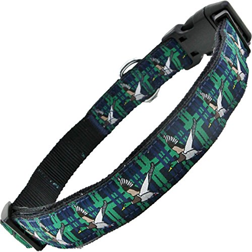 cheap Flying Ducks with Plaid Dog Collar Green and Blue by Hubba Puppy Adjustable Washable for XS Small Medium Large and XL