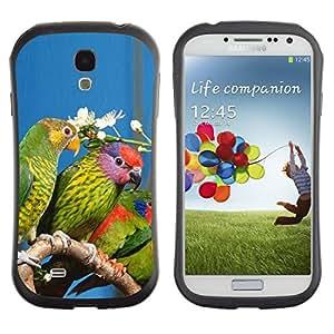 Suave TPU GEL Carcasa Funda Silicona Blando Estuche Caso de protección (para) Samsung Galaxy S4 I9500 / CECELL Phone case / / Parrots Green Rainforest Flower White Nature /