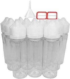 60ml Unicorn Liquid Bottles - Soft Squeeze PET Juice Squeezable Empty Dropper Bottle for Liquid Food Grade PET Transparent Plastic with Childproof Tampering Caps (12 Pack)