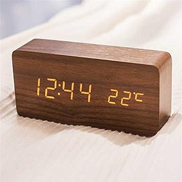 Queta LED Reloj Despertador Reloj de Madera Reloj Digital Despertador Oficina Fecha Temperatura Pantalla Humedad 12/24 Horas (marrón): Amazon.es: Hogar