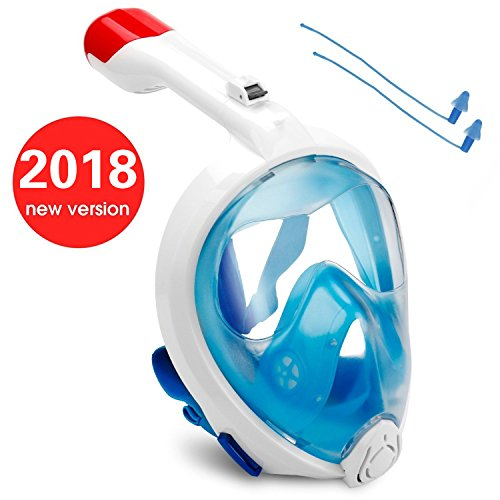 Foldable Headband Design - FITFORT 2017 v3.0 Snorkel Mask Full Face 180° Panoramic Breathe Easily Anti-Leak Anti-Fog /w Foldable Airtube & Adjustable Headband Strap Design for Adults and Kids [ Detachable GoPro Mount ]-M Code