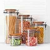 3E Home 23-2900 Large Coffee Canister, Container, Jar for Ground or Whole Bean, Glass Body and Bamboo Cap 55Oz Capacity
