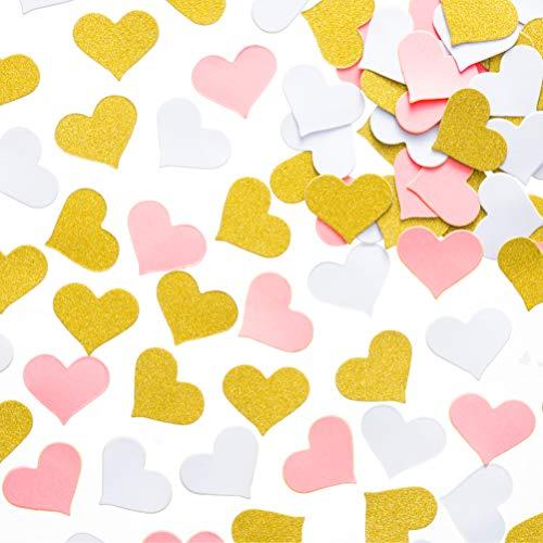 (MOWO Glitter Heart Paper Confetti Wedding Party Decor and Table Decor, 1.2'' in Diameter (Glitter Gold,Pink,White)