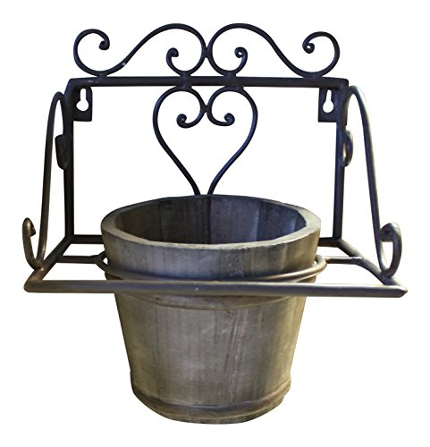 Wall Mounted Flower Pot Ring, Wrought Iron, Pot Included, French Vintage Style by My French Neighbor