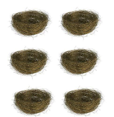 6pcs Artificial Bird Nest Birdhouses Garden Nature Art Craft Wedding Home Decoration - Coffee