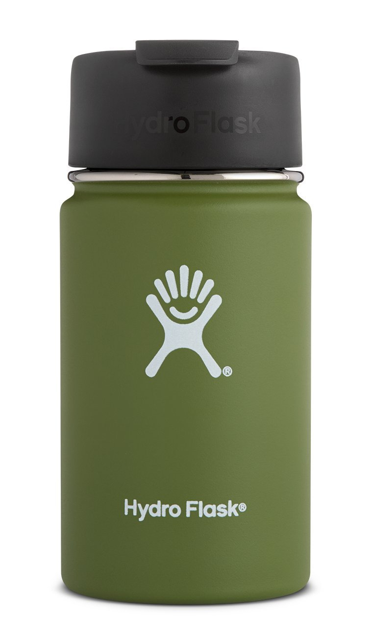 Hydro Flask 12 oz Travel Coffee Flask | Stainless Steel & Vacuum Insulated | Wide Mouth with Hydro Flip Cap | Olive