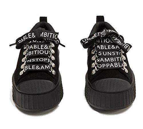 Rainstar Femmes Casual Lettre Lace Up Soprt Sneaker Dames Plat Hip Hop Chaussures Noir
