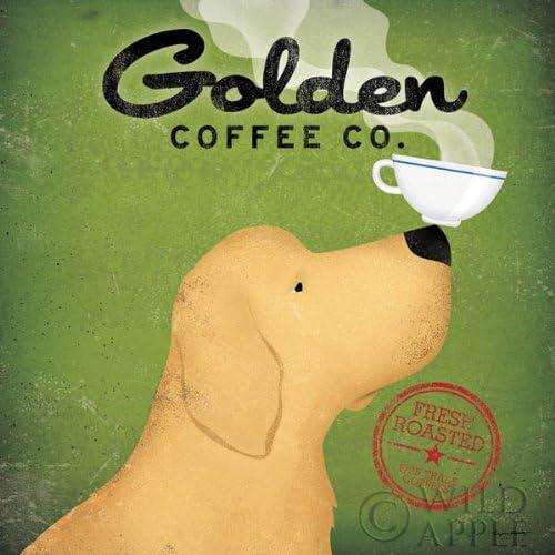 Golden Dog  Coffee Co by Ryan Fowler Dog Coffee Print 12x12