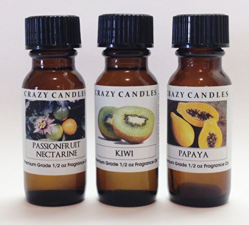 3 Bottles Set, 1 Passion Fruit Nectarine, 1 Kiwi, 1 Papaya 1/2 Fl Oz Each (15ml) Premium Grade Scented Fragrance Oils By Crazy Candles Kiwi Fragrance