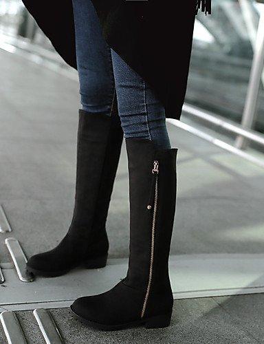 Kunstleder uk4 Kleid Stiefel eu36 Damen Blau Rundeschuh cn36 us6 black Reitstiefel Schwarz XZZ Lässig Niedriger Absatz E6IqA