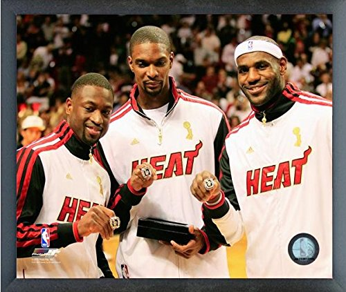 NBA Lebron James, Dwyane Wade, Chris Bosh Miami Heat 2012 Championship Rings Photo (Size: 12