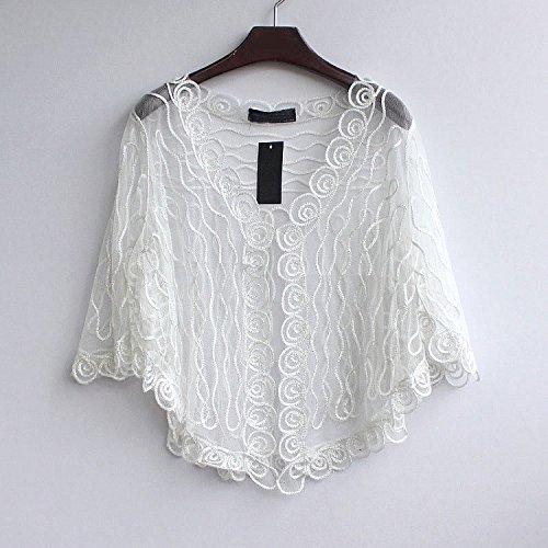 Taglie Giacca Cardigan Bianco Donna Abbigliamento Forti Estive Casual Giovane Fashion Elegante Trasparente Manica Mode Bolerino Pipistrello Laisla wBq5RZ0xT