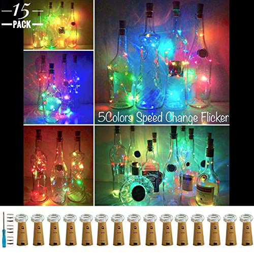 LoveNite Wine Bottle Lights with Cork 15 Pack Battery Operated 10 LED Cork Shape Silver Wire Colorful Fairy Mini String Lights for DIY Party Christmas Wedding Decor 5 Colors