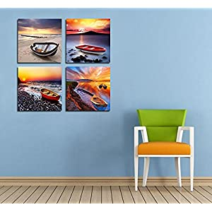 Boat Wall Art Beach Painting Ocean Seascape Sunrise Sunset 4 Panels Print on Canvas for Home Decor 12x12in