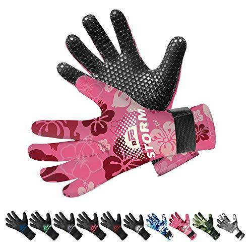 BPS Neoprene 3mm Gloves with Anti-Slip Rubber Printing - Warm and Comfortable Gloves for Water Jetski, Wakeboarding, Rafting, Surf, and Other Winter Activities - Unisex (Floral Pink/White, ()
