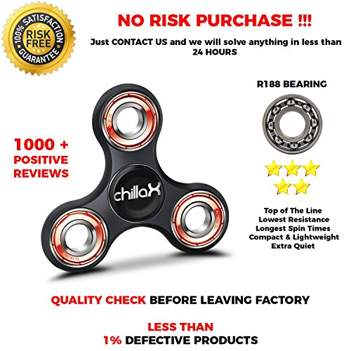 Chillax Fidget Spinner – Tri-Spinner Fidget Toy for Anxiety and ADHD – Premium Quality EDC Focus Toy for Kids & Adults – Best Stress Reducer, Giving Up Smoking, Boredom and Relaxation Toy (Black)