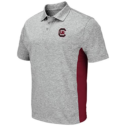 Colosseum Men's NCAA-Drive- Golf/Polo Shirt-Heather Grey-South Carolina Gamecocks-Large
