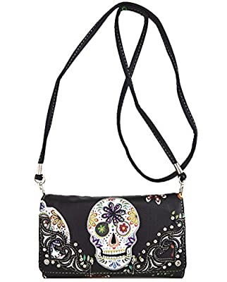 Western Cowgirl Sugar Skull Day of the Dead Halloween Small Pouch Wallet Purse for Women Crossbody