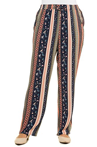 Pantalon Imprimé 716236 Multicolore Rose Popken Fluide Ulla Femme Tailles Graphique Grandes IxCpY