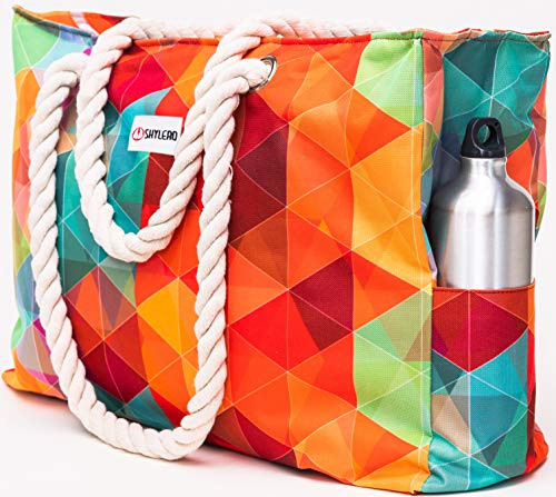 Beach Bag XXL. Waterproof (IP64). L22 xH15 xW6 w Cotton Rope Handles, Top Zip, Two Outside Pockets. Vibrant Rainbow Tote Has Waterproof Phone Case, Built-in Key Holder, Bottle Opener (Vibrant Rainbow)