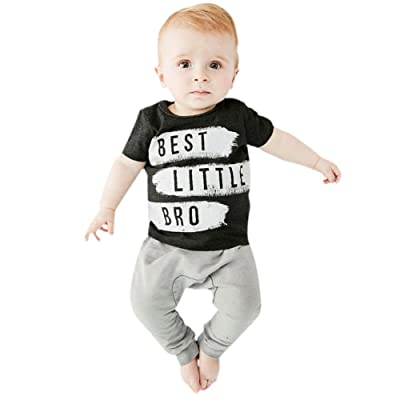 Weixinbuy Baby Boys Short Sleeve Clothes Letter T Shirt Pants 2PCS Set