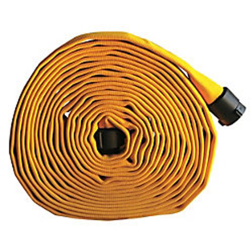 Key Fire Single Jacket Fire Hose, Yellow, 1-1/2'' ID, 50 feet, 650 PSI Burst Pressure, M x F NST Aluminum Connectors