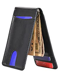 Yuhan Pretty Slim Mini Bifold Wallet Men Leather Front Pocket Money Clip Wallet (Black2)