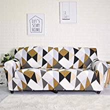 FORCHEER Stretch Sofa Cover Printed Pattern 3-Seat Spandex Couch Cover slipcover for 3 Cushion Couch 1 Piece Furniture Protector for Living Room, Pets, Sofa