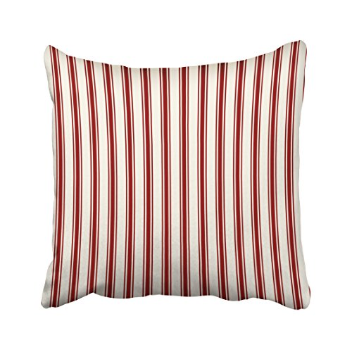 Musesh classic ticking stripe pattern red and cream Cushions Case Throw Pillow Cover For Sofa Home Decorative Pillowslip Gift Ideas Household Pillowcase Zippered Pillow Covers 20x20Inch (Cream Ticking)