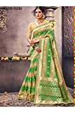 Indian Sarees For Women Designer Wedding Partywear Orange Color In Green Cotton Silk
