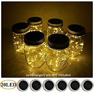 AlleTechPlus 6-Pack 20 LED Solar Powered Mason Jar Fairy Firefly Lights Lids Insert for Patio Yard Garden Party Wedding Christmas Decorative Lighting Fit for Regular Jar's Mouth (Warm White)