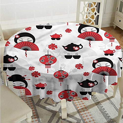 Tim1Beve Lantern Spillproof Tablecloth Japanese Fan Tea Pot Geisha for Banquet Decoration Dining Table Cover D60 INCH