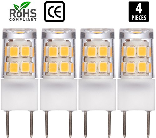 2w Accent Led ([4 Pack] Simba Lighting LED G8 2W 180lm 17SMD2835 T4 35mm Short Light Bulb 20W Halogen Replacement 120V for Accent Lights, Under Cabinet Puck Light, Desk Lamps, Pendant Lights, Soft White 3000K)