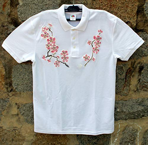 HOT SALE/White Polo T-shirt with Pink Cherry Blossom/Hand Painted Polo T-shirt/Painted Women's Polo/Sakura Blossom Flower Polo T-shirt/Beach Shirt/Gift Idea/Shirt ''Fruit of the Loom''/size M 65/30. by Netissimo
