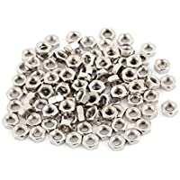 uxcell M3 Thread Dia 304 Stainless Steel Metric Hex Nut Screw Cap Fastener Silver Tone 100pcs