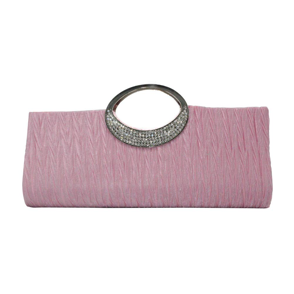 Adagod Rhinestone Satin Pleated Evening Handbag Women Elegant Wedding Purse Clutch