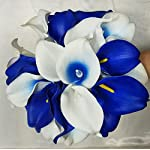 Royal-Blue-Ivory-White-Calla-Lily-Cascading-Bridal-Wedding-Bouquet-Boutonniere