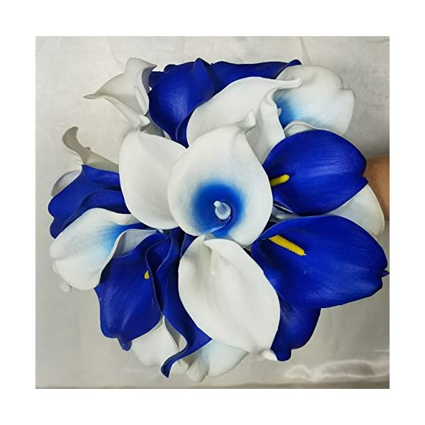 Royal Blue Ivory White Calla Lily Cascading Bridal Wedding Bouquet & Boutonniere