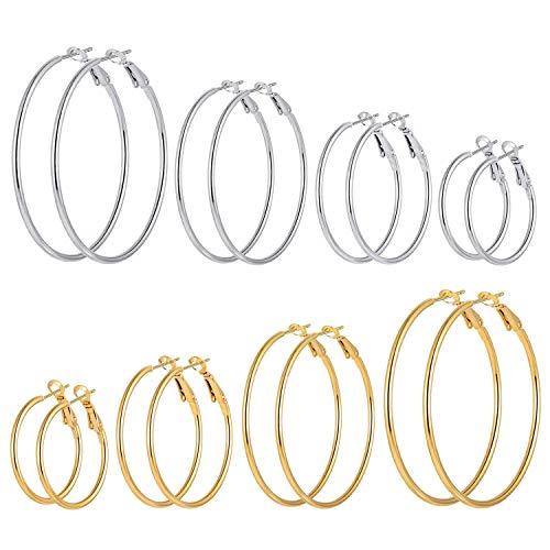 8 Pairs Stainless Steel Gold Silver Plated Hoop Earrings for Women Girls Hypoallergenic Earrings (30.40.50.60mm) (8 Pairs Hoop - Mens T-shirt Them Drop