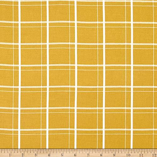 (Telio Vangogh Rayon Twill Plaid Print Mustard Ecru CARAMEL/ECRU, Fabric by the Yard)